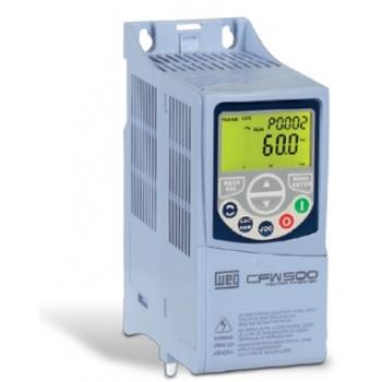 Variador de velocidad de 1.00H.p 220 vca Bifasico/Trifasico 0.75 Kw sin transistor de frenado  codigo CFW500A04P3B2NB20 Mca. WEG