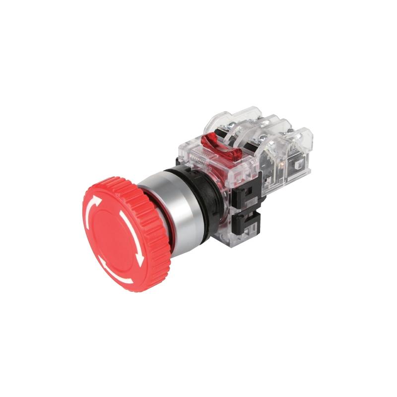 Botón de hongo paro de emergencia con traba ROJO en aluminio 22 mm 1na+1nc Mca. HANYOUNG