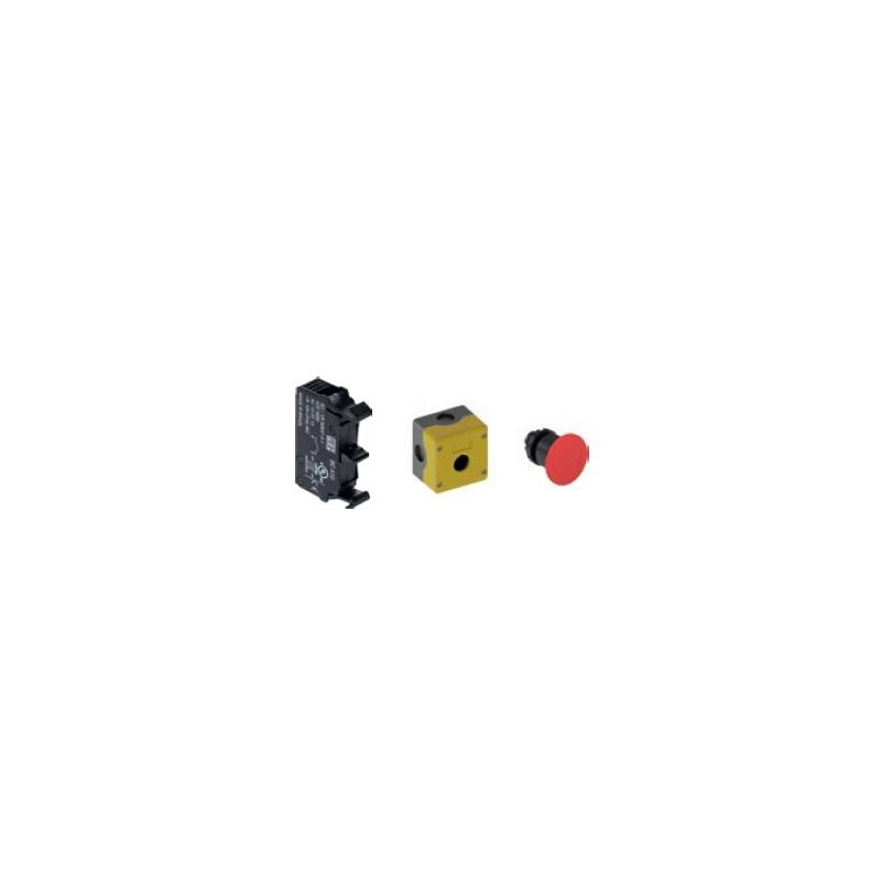Estacion de paro de emergencia en caja color amarilla con boton rojo tipo hongo con retencion de 22mm de diametro con 1 NC  IP66 Mca. WEG