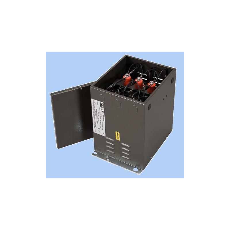 Banco de capacitores fijo 5kvar a 240vca las resistencia de descarga están incorporadas ,la conexión realizada es Delta  Mca. WEG