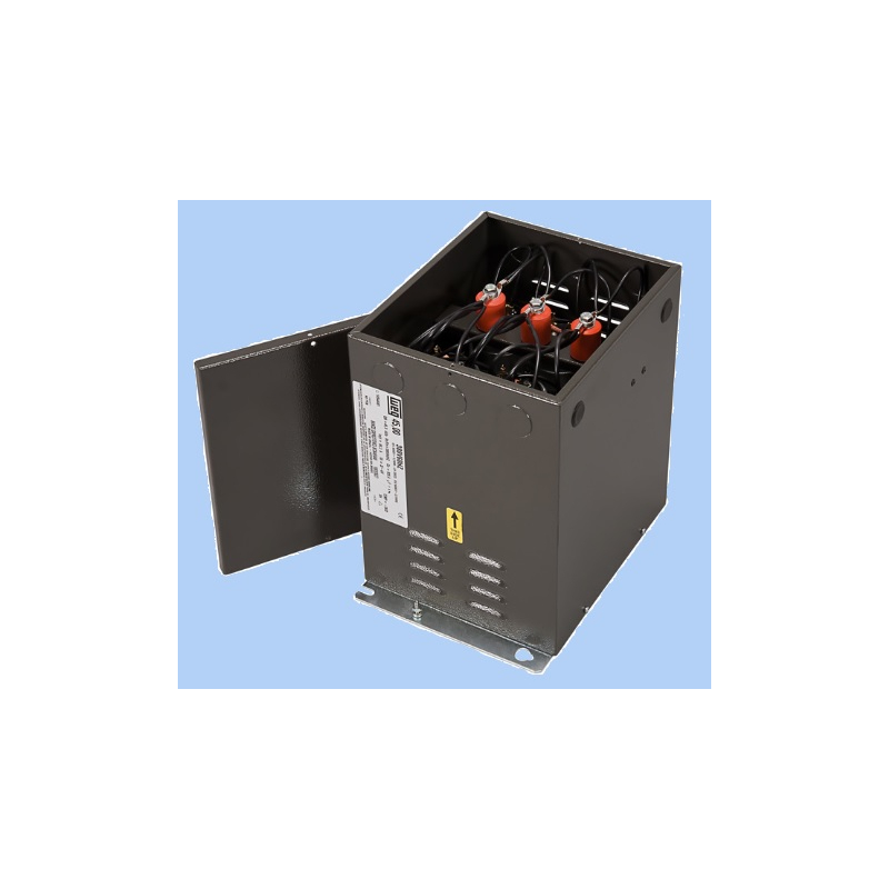 Banco de capacitores fijo 10 kvar a 240vca las resistencia de descarga están incorporadas ,la conexión realizada es Delta  Mca. WEG