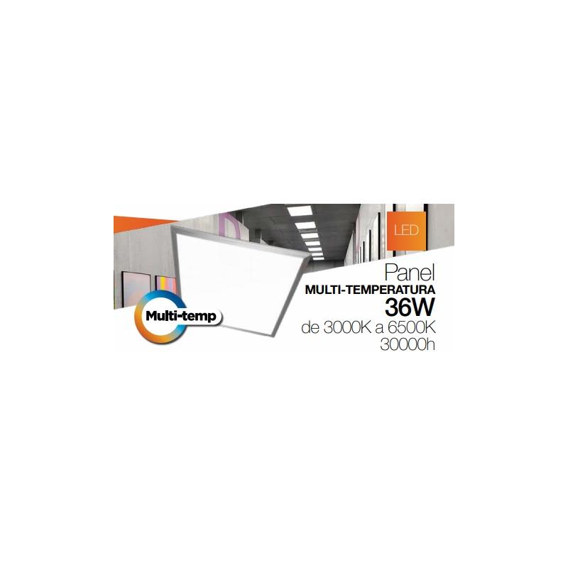 Luminario tipo panel multi-Temperatura 36w incluye control remoto  empotrado y suspendido  2880 Lm 100-277vca  IP40 3000°k a 6500°k 595x595x10 mm Mca
