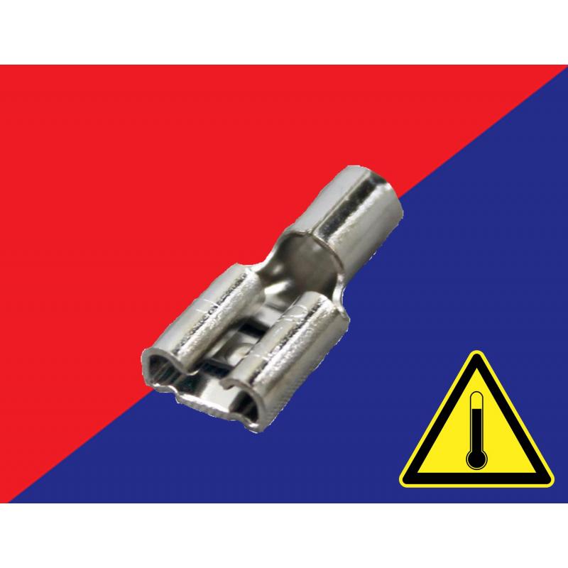 Zapata de acero inoxidable hembra calibre 16-14 tipo faston 0.250 alta temperatura