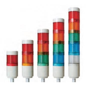 Luz Indicadora led fija modular con alarma 85dB (1m de distancia) 110-220 vca 5 stack con tubo y base de instalación (L) R,G,Y, B