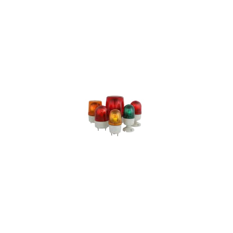 Torreta Giratoria con alarma 80 dB (1m distancia)84mm diam 24vcd rojo
