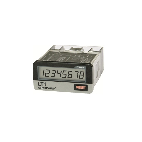 Horómetro con voltaje 24/240VAC 6/240VCD 8 dígitos LCD 48X24mm con Reset  Programable en seg., min. y hrs. HANYOUNG