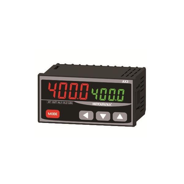 Control de Temperatura dígital 96X48mm entrada J,K PT100 salida SSR+Rele+Rele 100-240VCA HANYOUNG