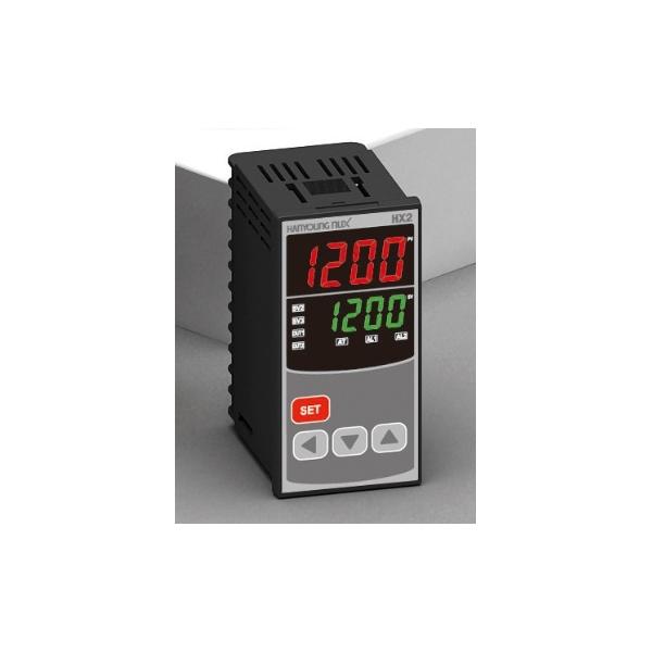 Control de Temperatura digital 1/8 din 48x969mm entrada multi-input, salida SSR + relevador + RS485 + H:B:A +2 alarmas alim. 100-240vca HANYOUNG