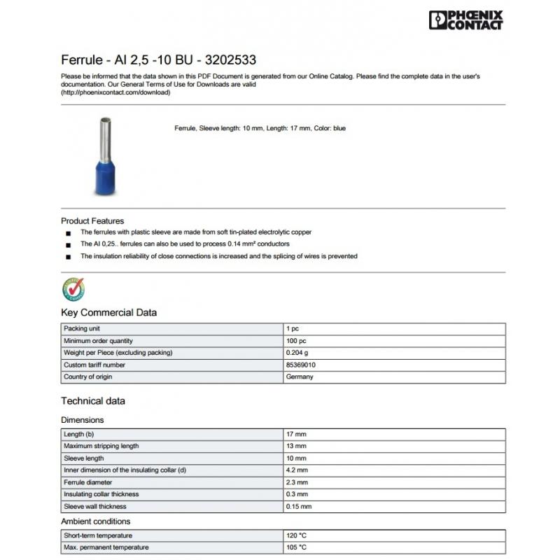 Punta Ferrul cal. 14/ 2.5mm2 Azul Marca Phoenix Contact  Paquete de 50 pzas
