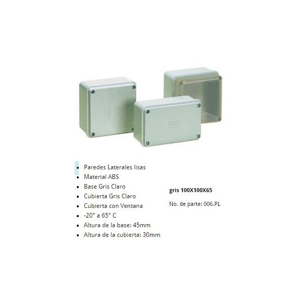 Gabinete Plastico 100X100X65mm Color Gris Claro IP-65 Cubierta Gris ALTECH