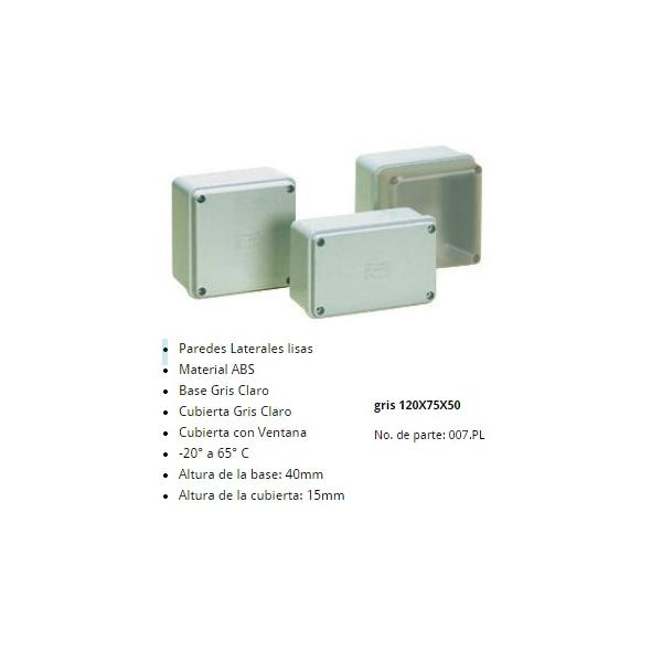 Gabinete Plastico 120X75X50mm Color Gris Claro IP-65 Cubierta Gris ALTECH