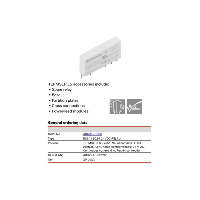 Relevador de potencia TERM, SPDT 24 VCD 6 AMPS   SOLDABLE MCA. WEIDMULLER