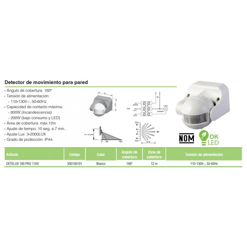 Detector de movimiento instalación en pared , angulo de detección 180° IP44 KPS
