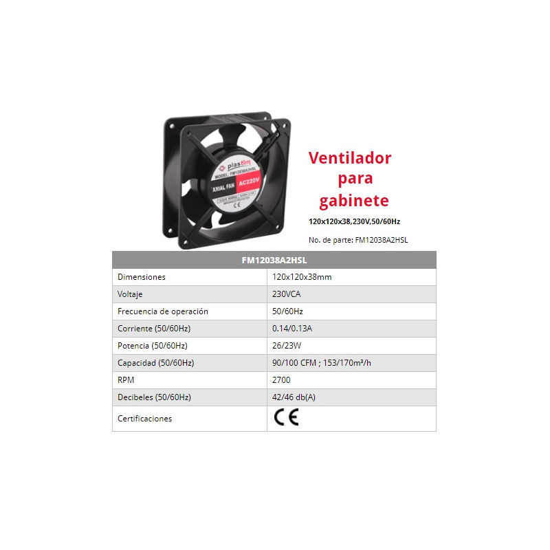 Ventilador para gabinete de 80x80x38 mm 230vca 60Hz de 0.07 Amps 2400 rpm 30 CFM rejilla de seguridad PT0808  Marca Altech