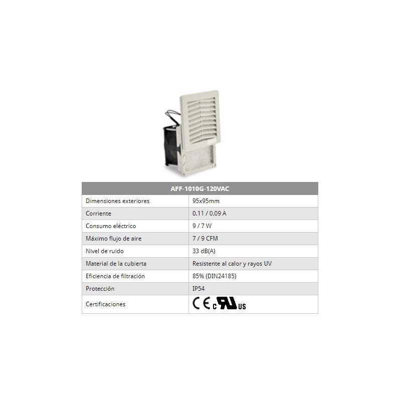 Ventilador con filtro   color gris 115 vca  7/9 CFM de 95x95mm Marca. Altech