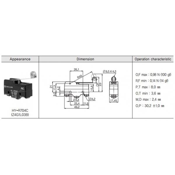 Micro Switch Básico con Palanca Larga y Rodillo 1NA+1NC 10A 250VCA HANYOUNG