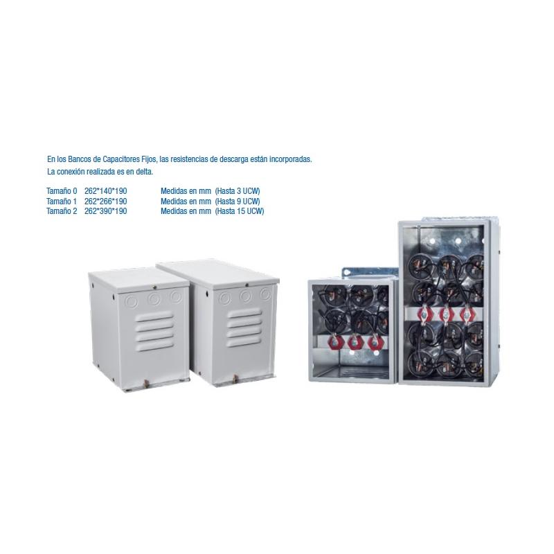 Banco de capacitores fijo 20 kvar a 240vca las resistencia de descarga están incorporadas ,la conexión realizada es Delta  Mca. WEG