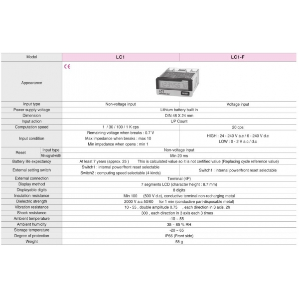 Contador Totalizador 8 Digitos LCD con voltaje 24/240VCA 6/240VCD 20 CPS Reset Frontal o Remoto HANYOUNG