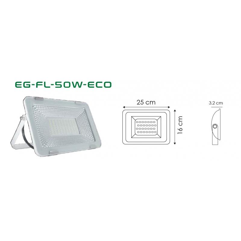 Reflector IP65 50W 100-127 VCA BLANCO 6000°k 60 Hz 4500 Lm de aluminio