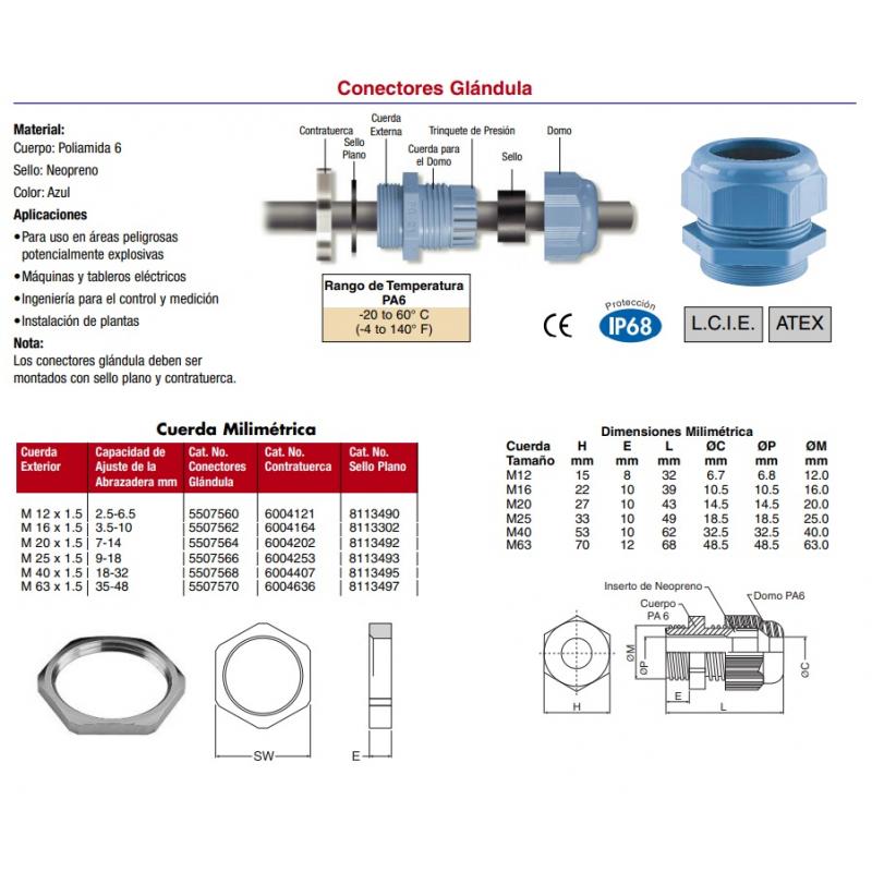 Conector glandula Aprueba de Explosión Poliamida 6 sello de neopreno color azul cuerda milimétrica M16x1.5 ajuste 3.5-10 mm incluye contratuerca rango