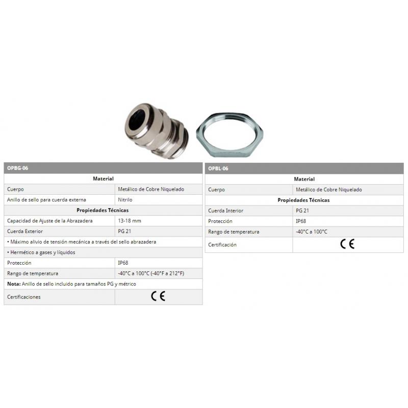 Conector glandula Cobre Niquelado  PG-21, ajuste 4-8 mm incluye contratuerca rango de temperatura -40-100°C IP68 CE Marca ALTECH