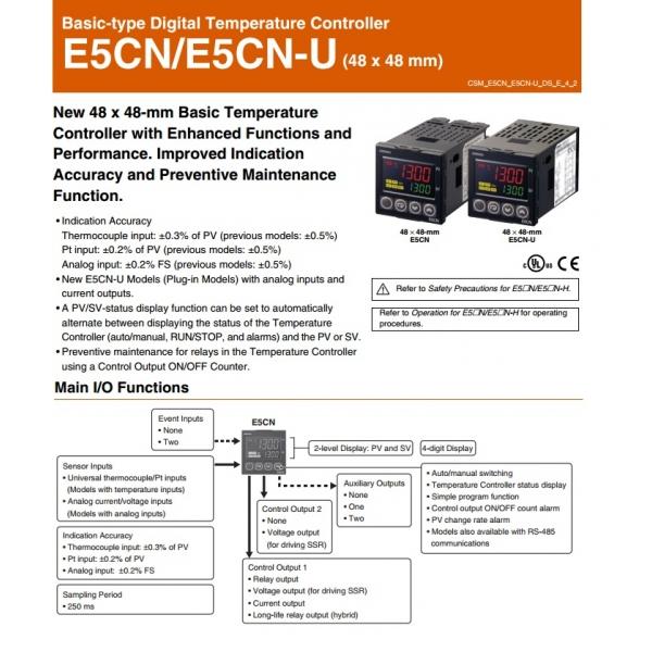 Control de Temp. Digital, entrada sensor de temp. (RTD o TERMOCOPLE) salida a pulso de 12VCD alim. 100-240VCA ON/OFF OMROM(A1H5)