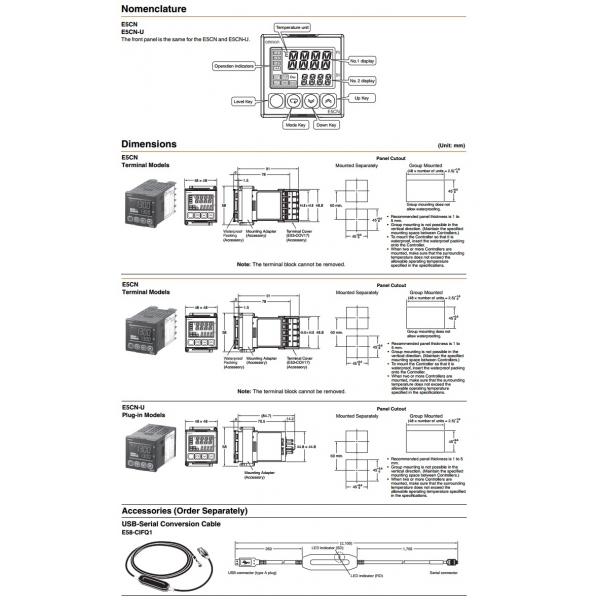 Control de Temp. Digital, entrada sensor de temp. (RTD o TERMOCOPLE) salida a pulso de 12VCD alim. 100-240VCA ON/OFF OMRON(A1H5)