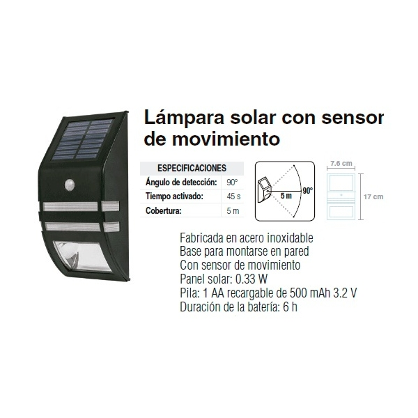 Luminario Solar c/sensor mov. y fotocelda 2 led pila recargable AA 0.33w 500m Ah 3.2V VOLTECH