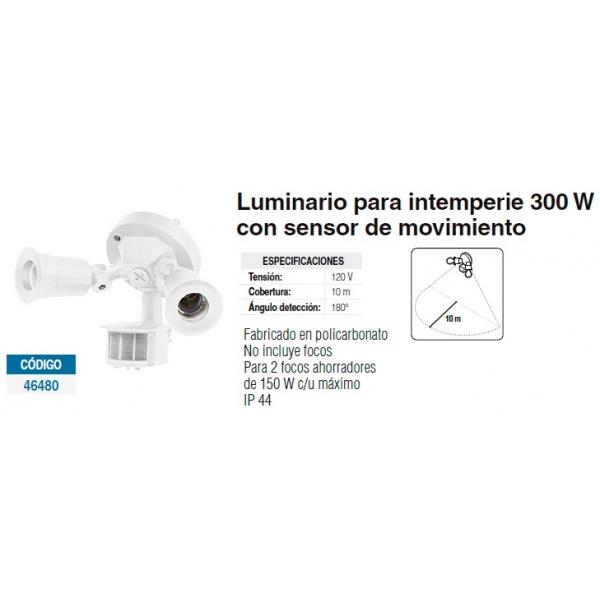 Luminario p/intemperie 300w sensor de mov. blanco policarbonato 150w IP44 120V 10m cobertura 180° luminación VOLTECH