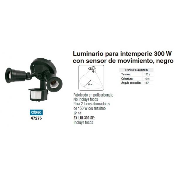 Luminario p/intemperie 300w sensor en mov. negro policarbonato IP44 120V 10m cobertura 180° detección p/2 focos ahorra. 150w c/uno,