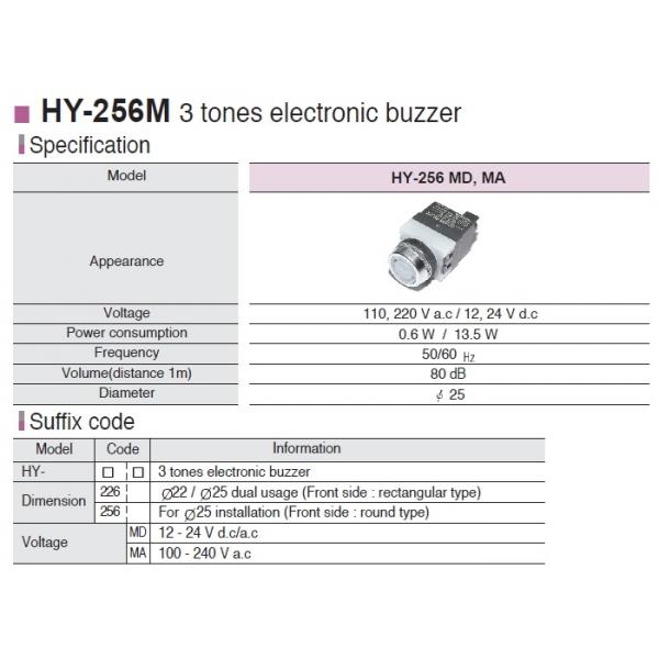 Boton alarma 3 tonos con led 100-256 vca 22mm HANYOUNG