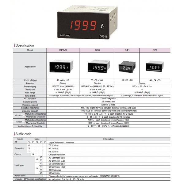 Volmetro indicador Dc 96x48mm 4 dígitos rango .01 - 19.99 vcd alim. de 110-240 vca HANYOUNG