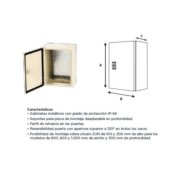 Gabinete Metálico 400X400X200mm con Platina IP-66 ARGOS