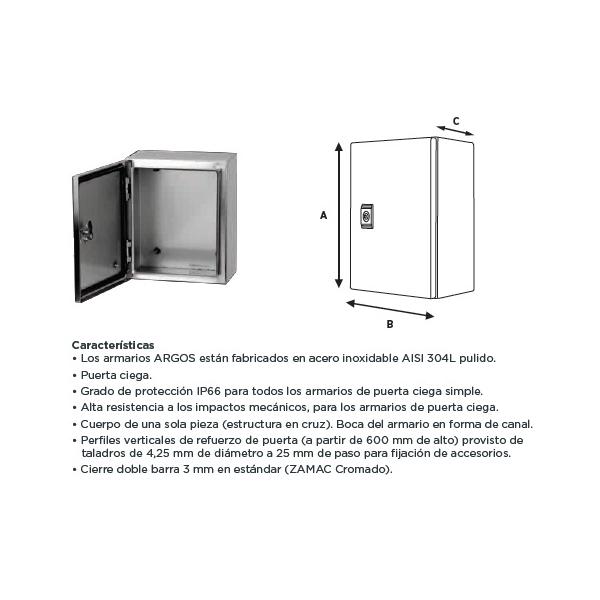 Gabinete Acero Inoxidable 700X500X250mm con Platina IP-66 ARGOS