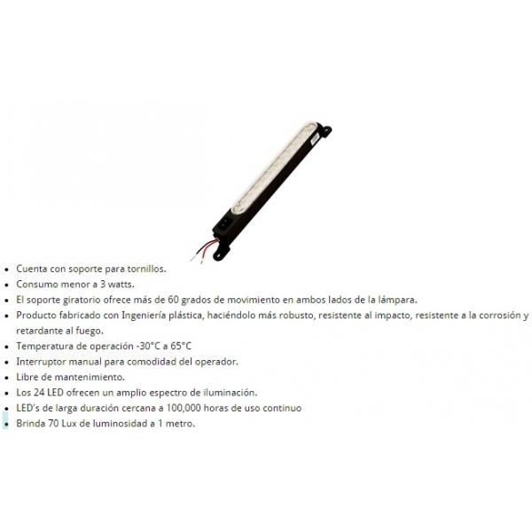 Lampara Led para Gabinete 3W 110VCA Negra Soporte Fijar con Tornillo IP-54 ALTECH
